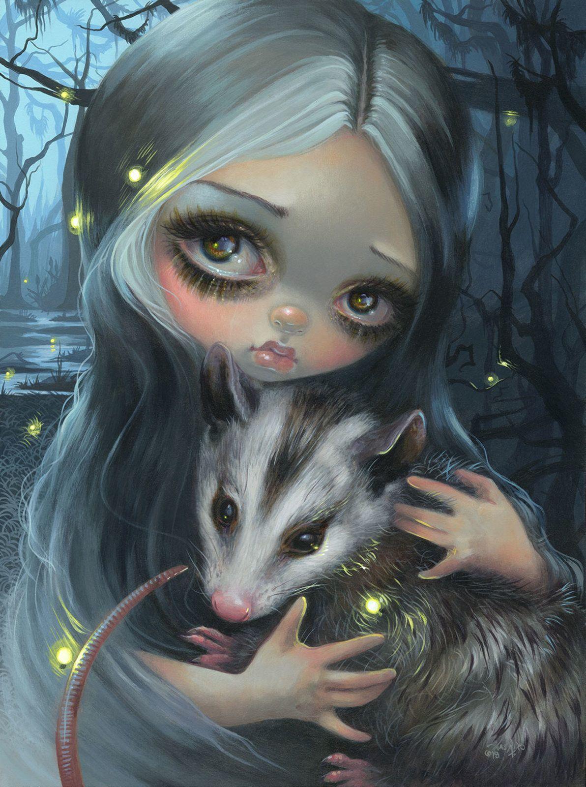 Luna moth moon star fairy gothic faery art CANVAS PRINT