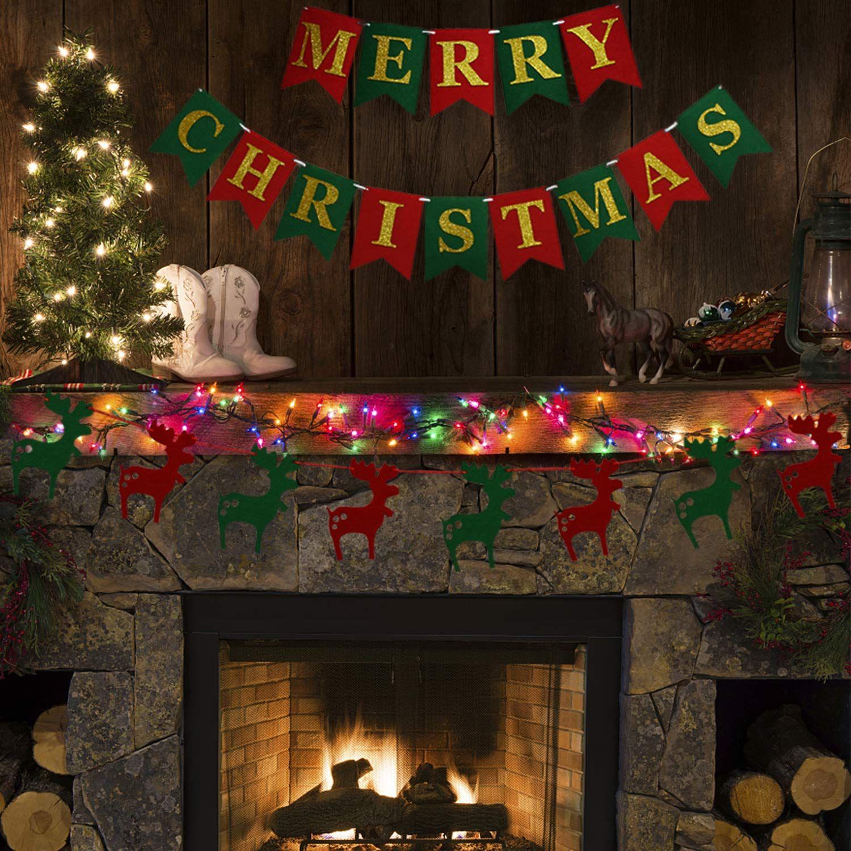 Thaway Felt Fabric Merry Christmas Banners Christmas Wall