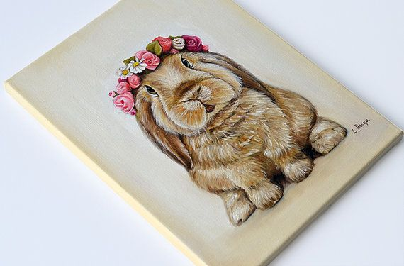 Bunny print on canvas. Rabbit wrapped canvas. Bunny by MimoCadeaux