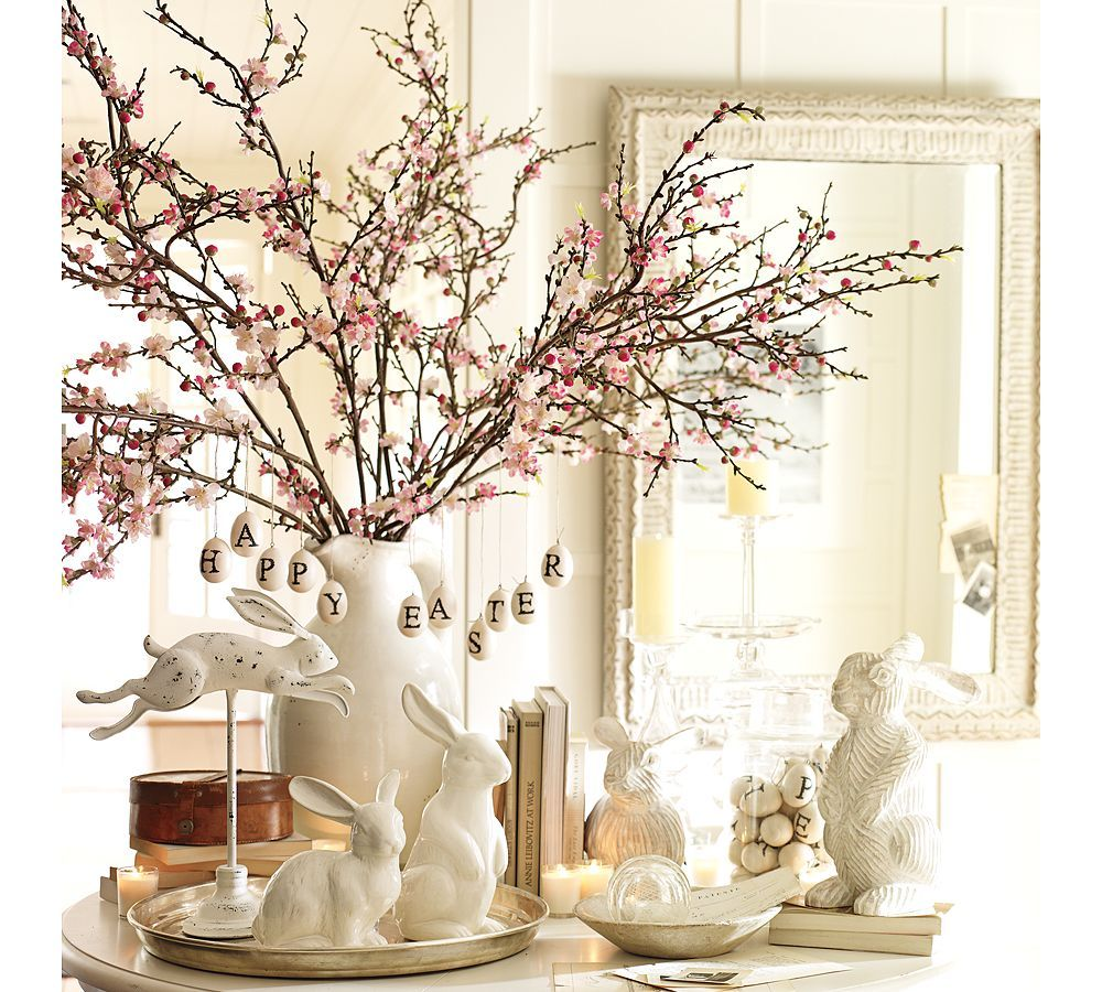 Beautiful Easter Table Decor I Love Cherry Blossoms Love The White Bunnies