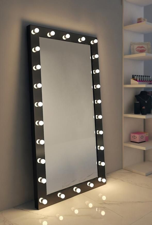 18 Bulb Mirror Ideas, Big Standing Mirror With Light Bulbs