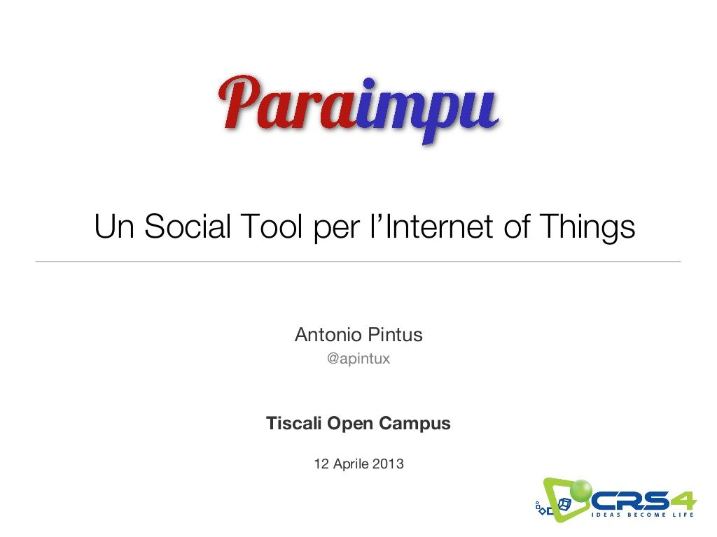 Paraimpu Tiscali Open Campus By Antonio Pintus Via Slideshare Con