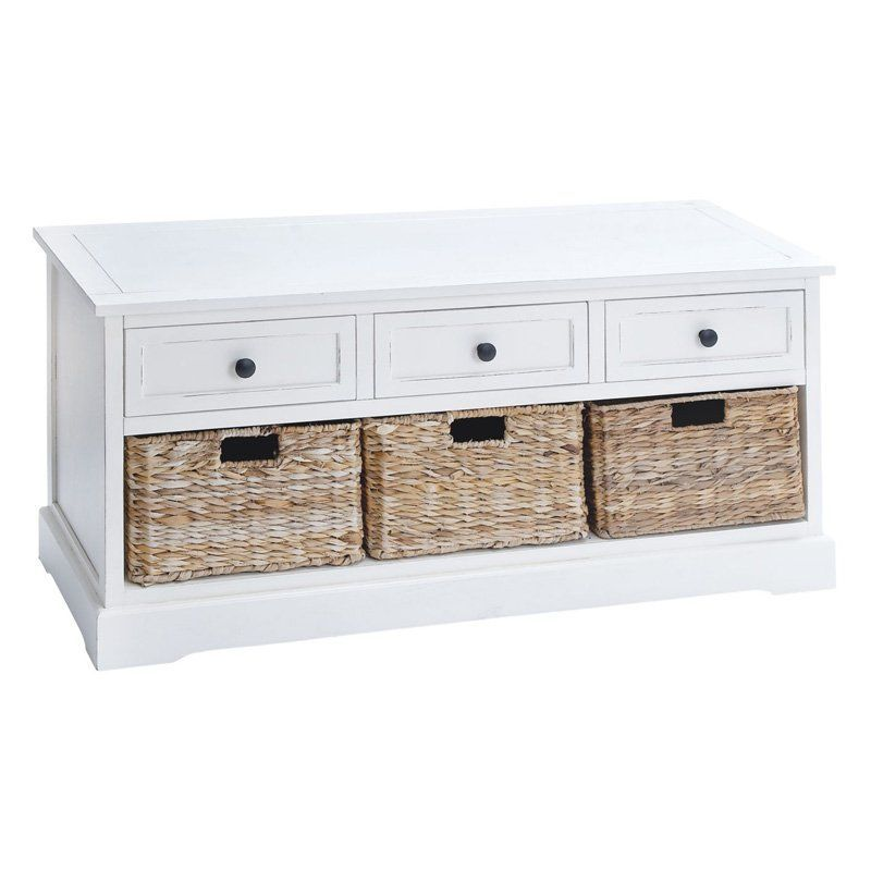 Excellent 3 Drawer Wood And Wicker Basket Bench 42W X 20H In White Onthecornerstone Fun Painted Chair Ideas Images Onthecornerstoneorg