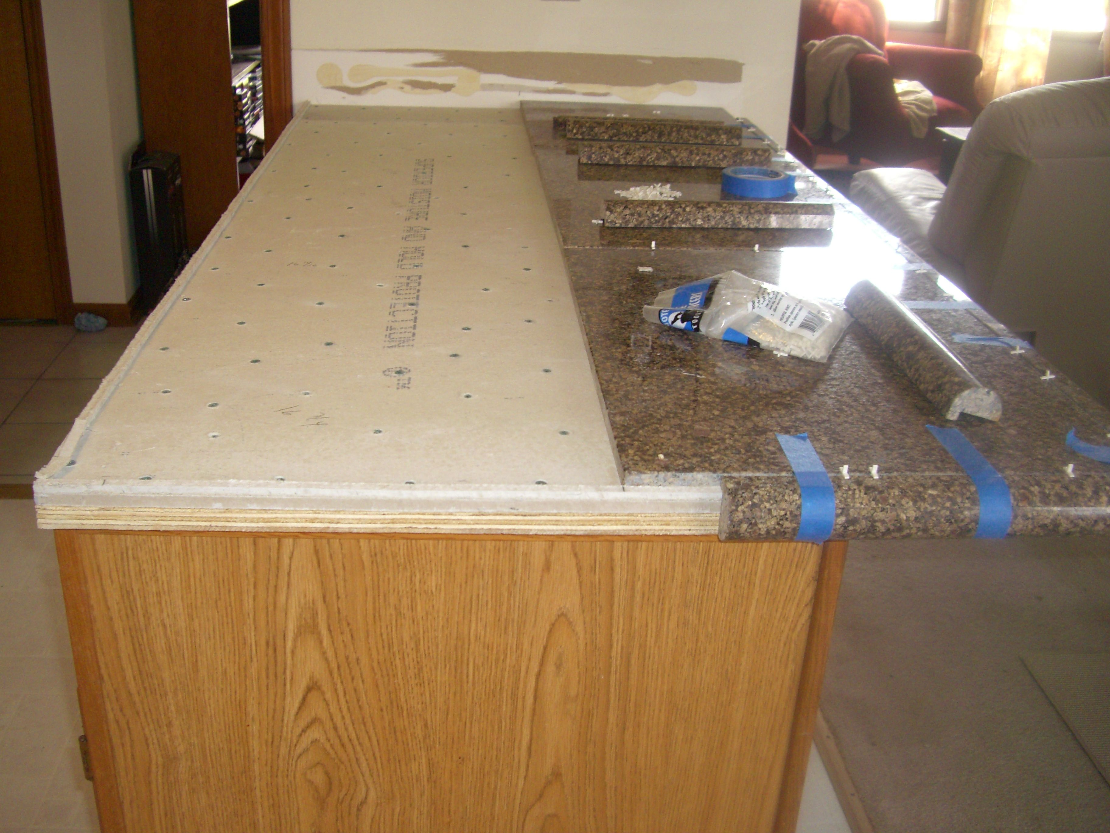 Granite tile countertop diy backsplashes tiling ideas for Tile bar top ideas