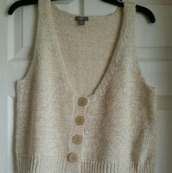 J Jill Cable Knit Sweater Vest Petite M Open Weave Cable Knit