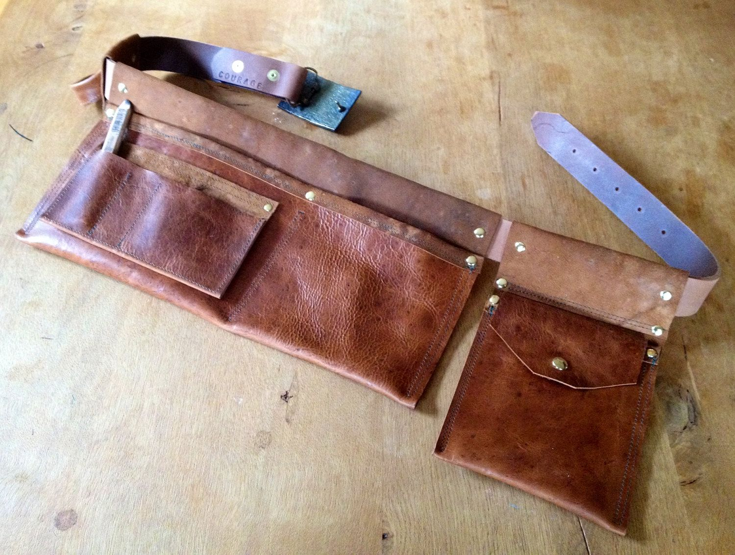 handcrafted leather tool belt recycled belt tool belt