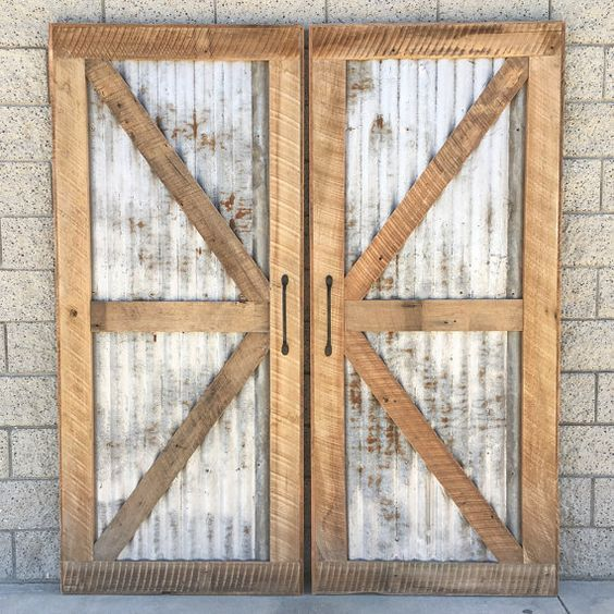 Reclaimed Wood Sliding Barn Door With Recycled Tin Barn