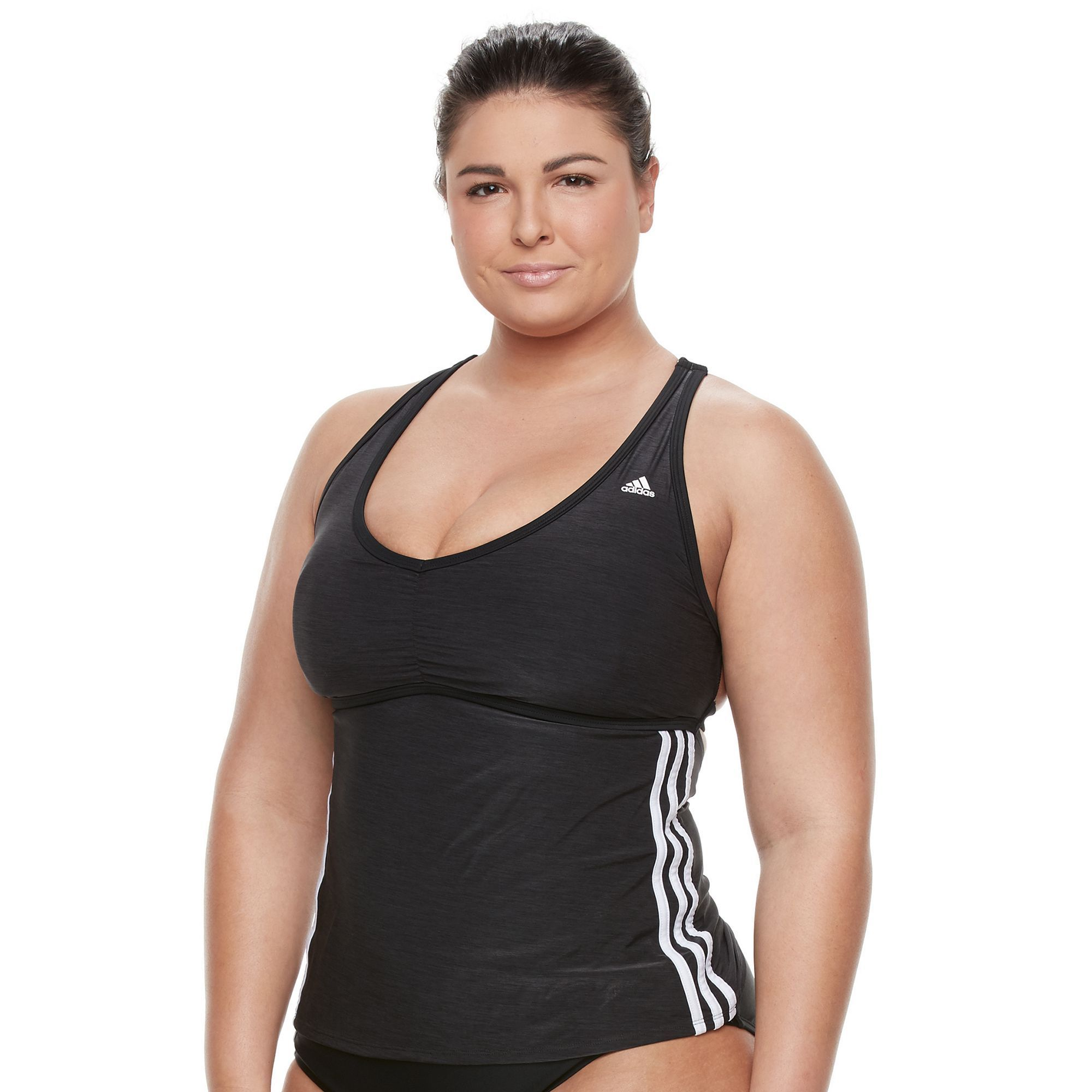 2be8c930f0 Plus Size Adidas Light As Heather Sporty Tankini Top, Women's, Size: 2XL,  Black