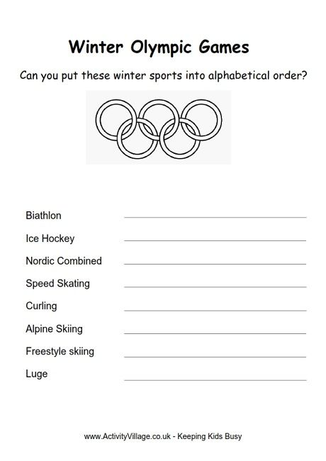 Sort out these Winter Olympic sports into alphabetical order in - event order form