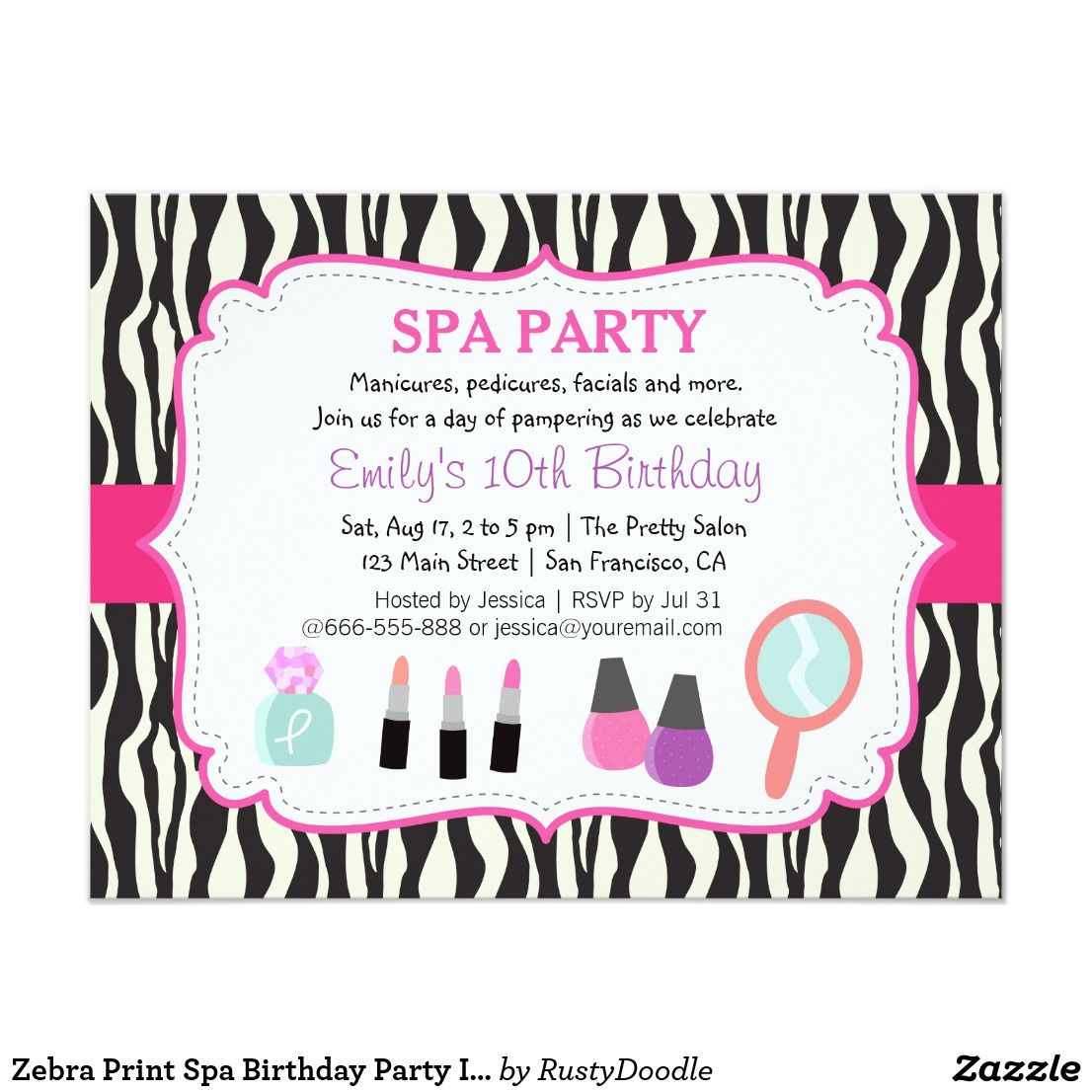 Zebra print spa birthday party invitation treat the birthday girl to zebra print spa birthday party invitation treat the birthday girl to a day of pampering together with her close gal friends ideas for activities include stopboris Choice Image
