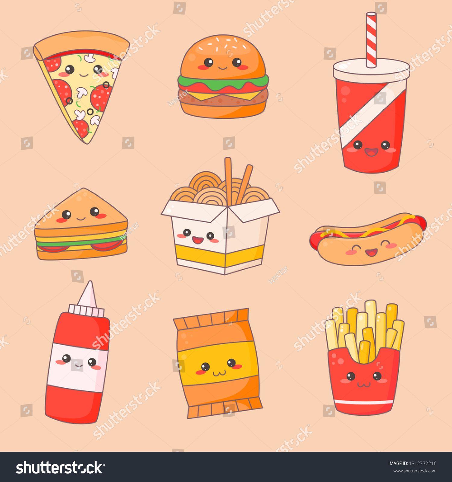 Fast Food Junk Kawaii Cute Face Set. Hamburger and Hotdog