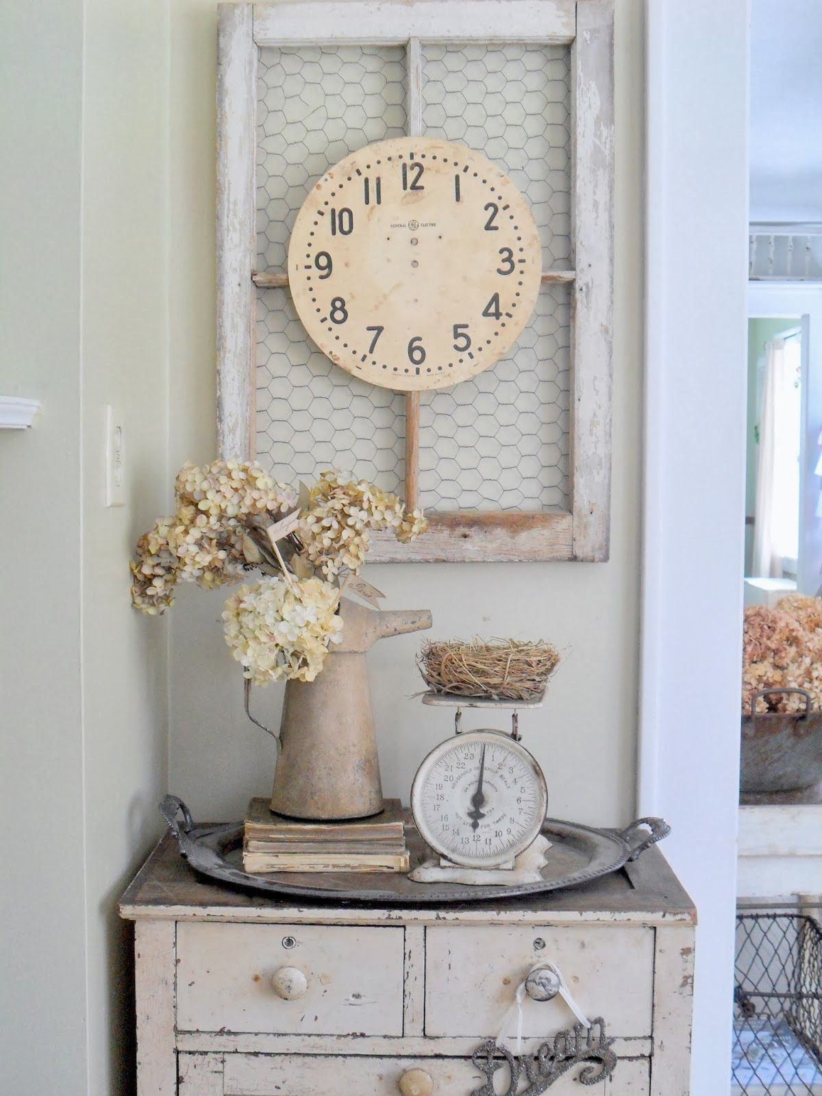 Chicken wire in a window frame....must love junk | Home Inspiration ...