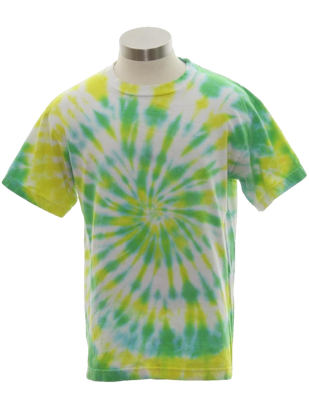 Nineties T Shirt  90s or Newer -No Label- Unisex White background cotton  70s style Tie Dye shortsleeve 636f1b280fd