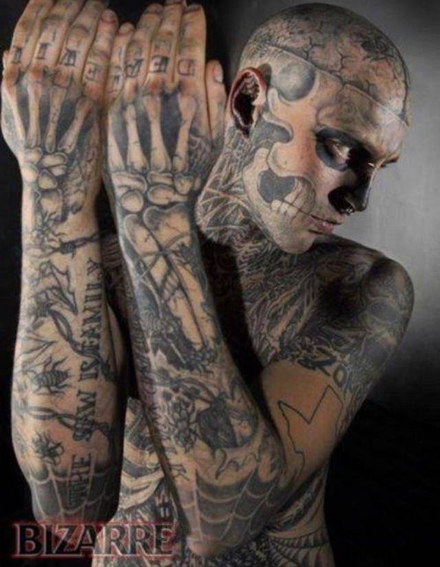 Crazy Rick Genest Zombie Tattoos Weird Tattoos
