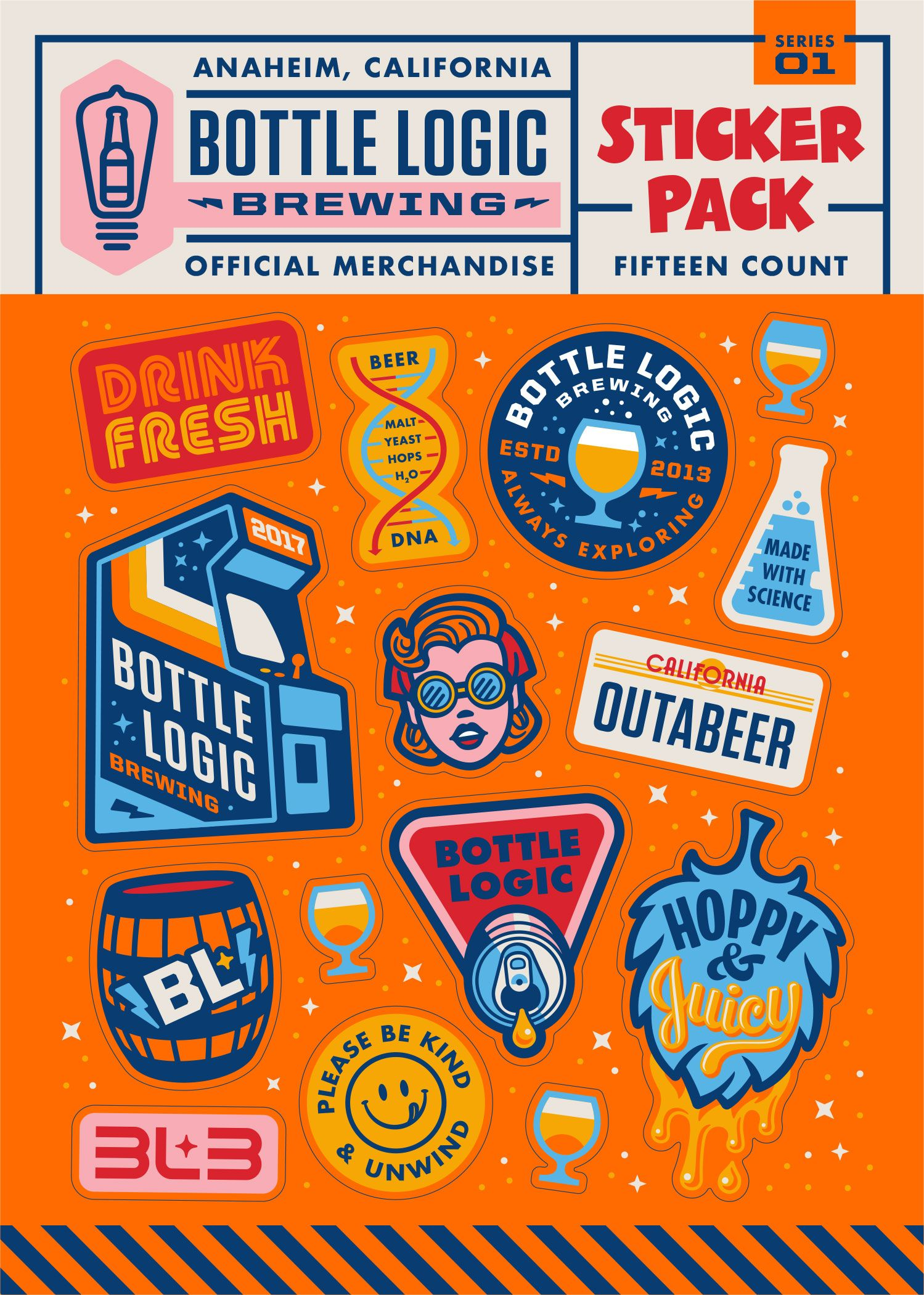 Sticker pack for bottle logic brewing loving the oranges and very otherwise pop y colours