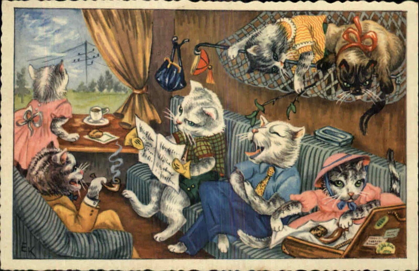 Cat fantasy cats lounge in living room hammock old postcard ebay