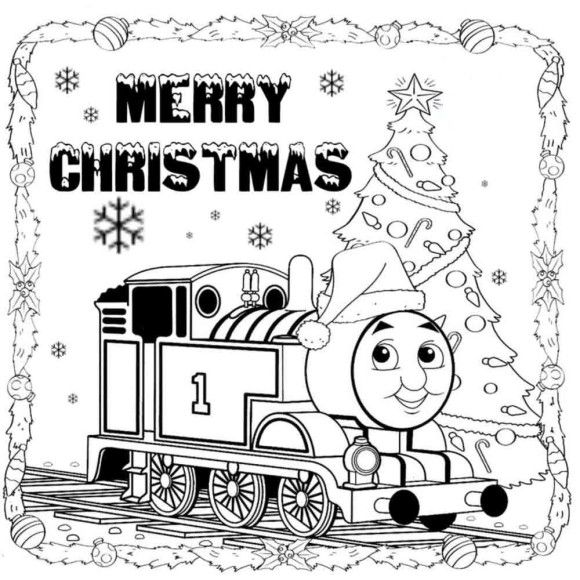 Thomas The Train Merry Christmas Coloring Pages Train Coloring