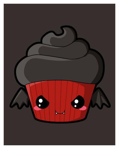 Vampire Cupcake Art Print by Piktorama | Cute kawaii ...
