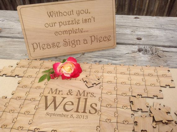 Wedding Guest Book Custom Puzzle With Heart Tabs Destination Wedding Guest Puzzle Guest Book Wedding Puzzle