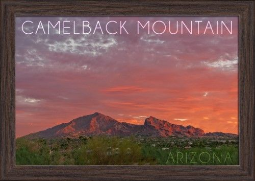 Camelback Mountain, Arizona - Sunset Photography (18x12 Giclee Art Print, Gallery Framed, Espresso Wood), Multi