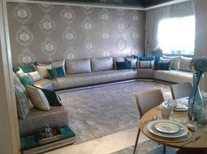 Un très beau salon marocain moderne gris bleu turquois par l ...