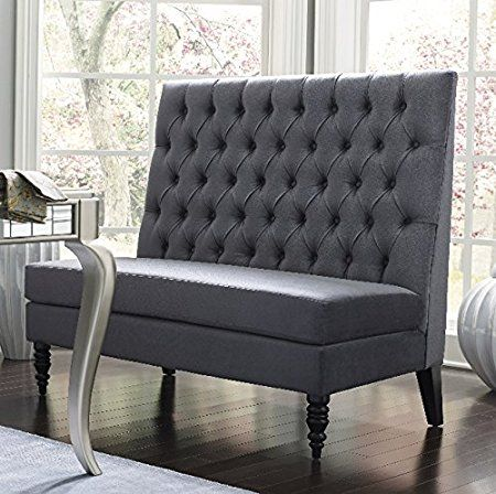 Amazon.com: Silver Modern Banquette Bench Seating With High Back Banquettes  Upholstered For Kitchen