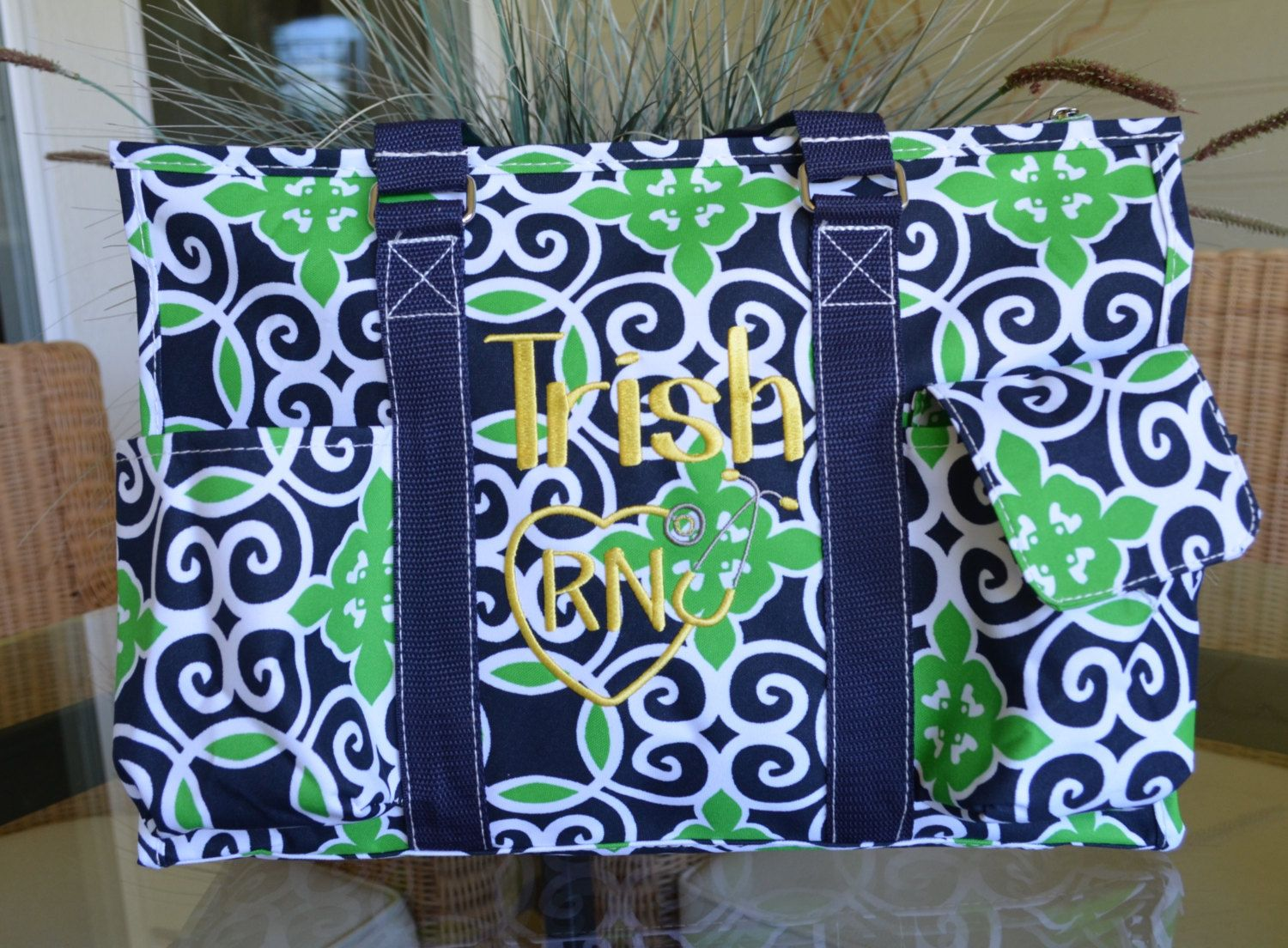 "19"" or 16"" Green Sailor Print Utility tote, Large Utility Tote, Nurse's Tote, Teacher's Tote, Personalized by StitchedInStyle1 on Etsy"