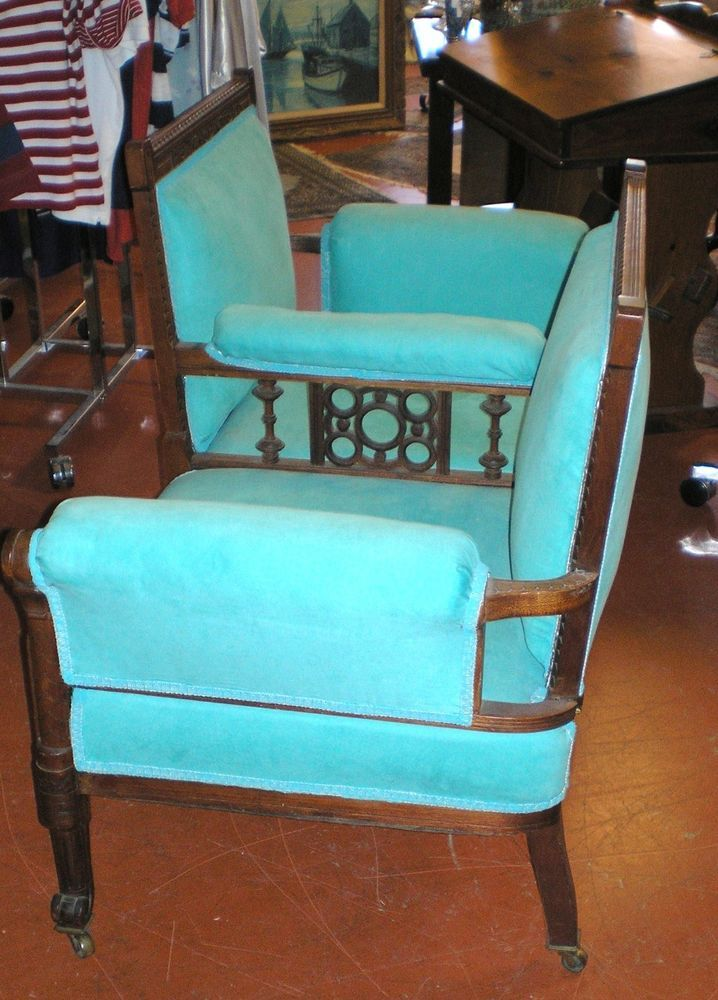 Vintage Antique Tete A Tete Chair Courting Chair Eastlake Style