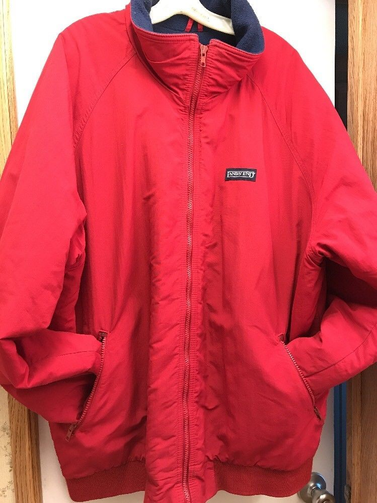 Lands End Squall Jacket Mens Tall Xxl Red Pockets Long