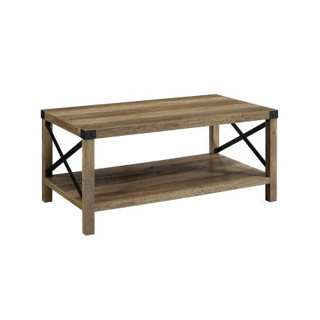 Manor Park 40 Inch Rustic Urban Industrial Metal X Coffee Table