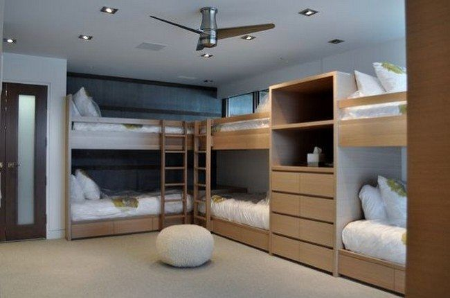 Bed Attached To Wall bunk beds attached to the wall to create space in the center of