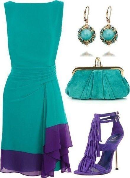 ideas de looks como combinar el color verde y el azul insprate