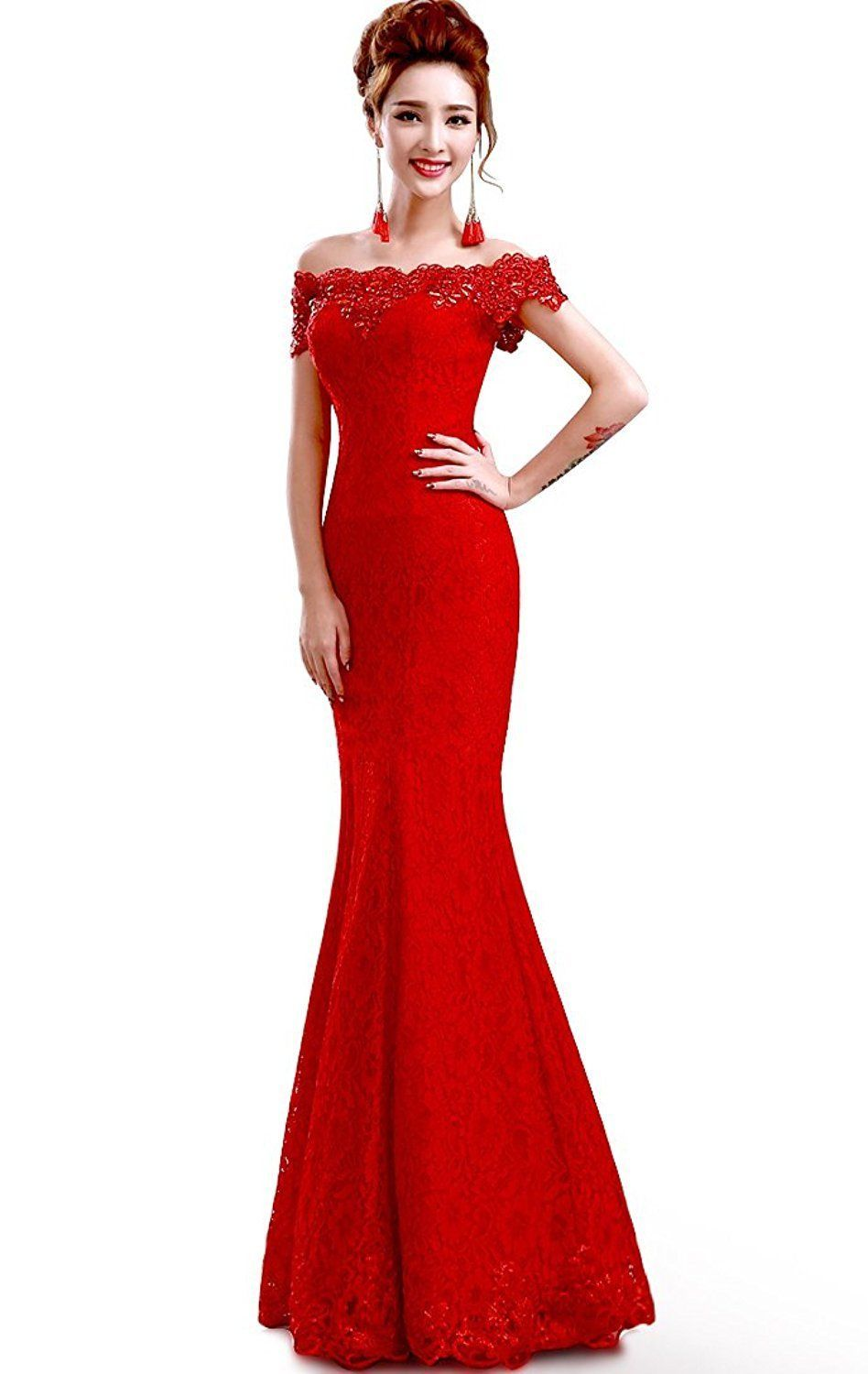 Awesome great babyonline off shoulder lace red mermaid evening