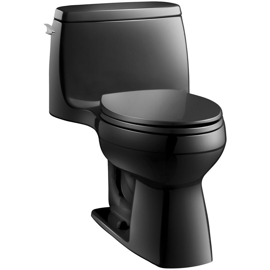 Kohler Santa Rosa Black Black 1 28 Gpf 4 85 Lpf 12 In Rough In Watersense Elongated Comfort Height Toilet Black Toilet Water Sense Kohler