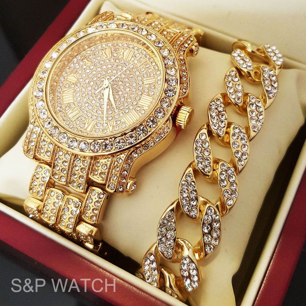 Iced Out Gold Tone Simulated Diamond WATCH & Cuban Bracelet Gift Set