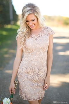 2016 Country Bridesmaid Dresses V Neck Full Lace Short Sleeves Champagne Sheath Wedding Guest Wear Party Maid Of Honor Gowns