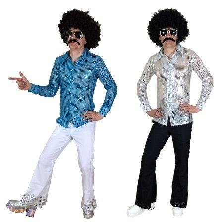 Men/'s 1970/'S Retro Fancy Dress Costume Shirt Patchwork Denim Trousers Stag Disco