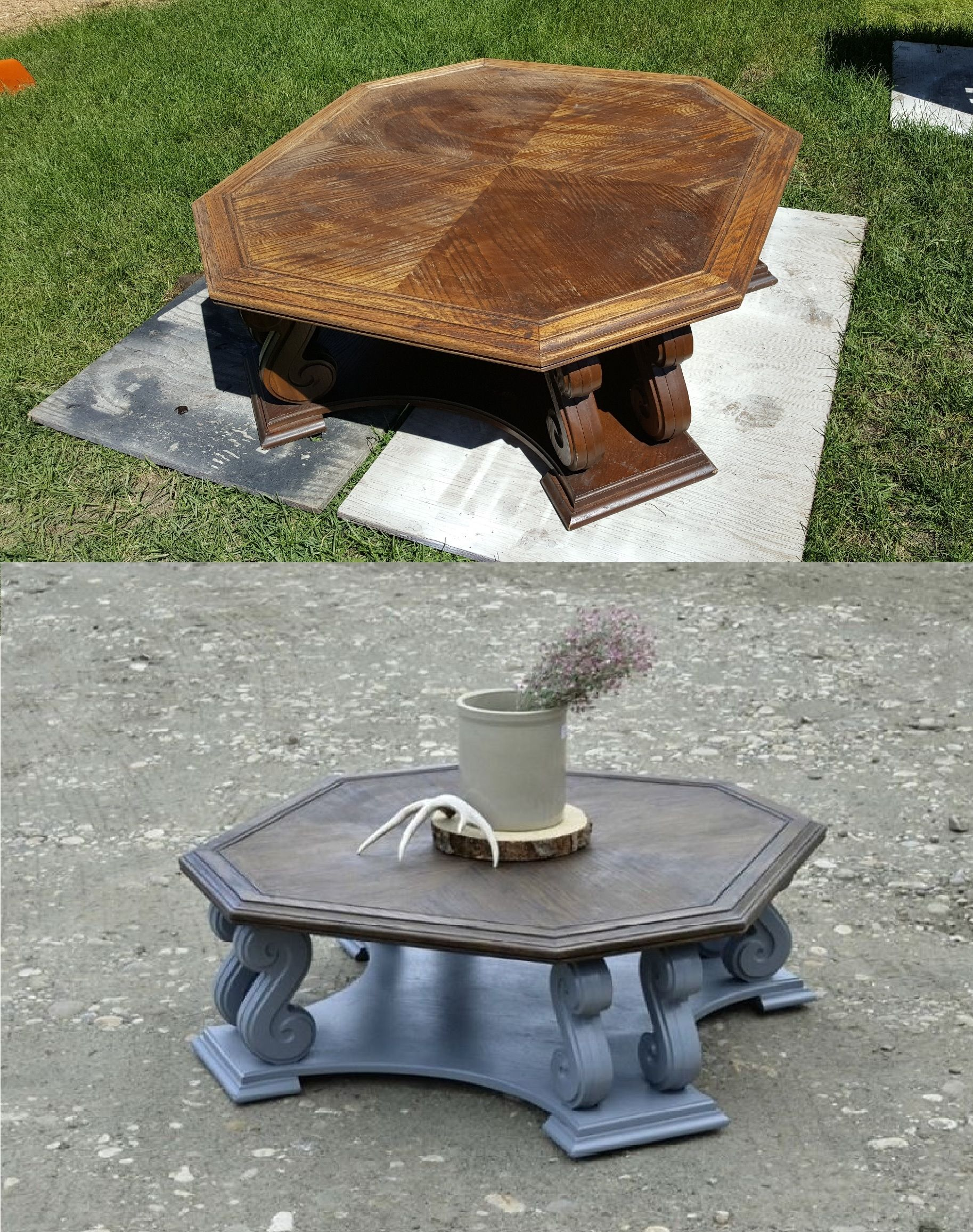 Octagon Coffee Table Brought Out Of The 80u0027s! Table Top Was Refinished With  A Dark Walnut Stain. Painted The Base With A Lilac Grey Melamine Paint.