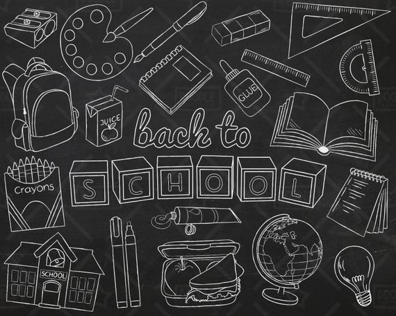 Chalkboard Back To School Vector Pack Hand Drawn School Etsy How To Draw Hands School Clipart School