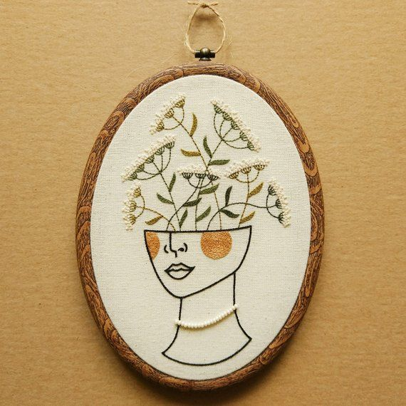PDF pattern - Flower Girl Hand Embroidery Pattern (PDF modern embroidery pattern - queen anne's lace)