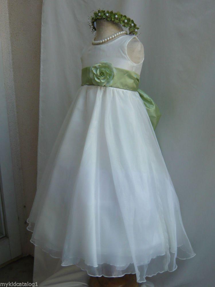Kc1 new ivory sage green wedding organza crystal kids