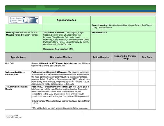 Printable Template of Meeting Minutes Meeting Minutes Template for - printable meeting notes template