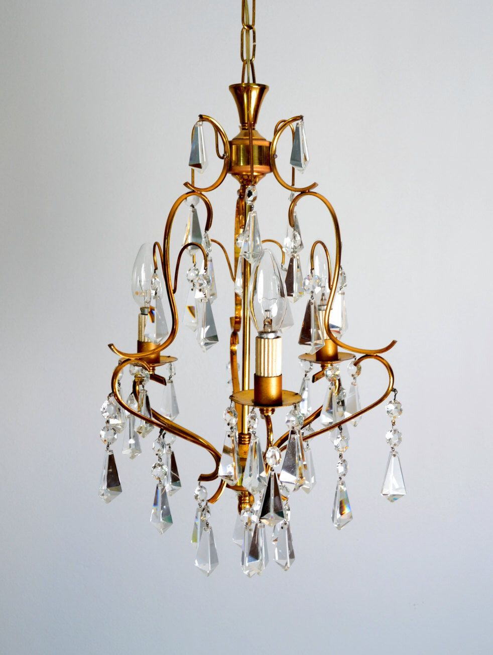 Crystal CHANDELIER Lighting Mid Century Vintage Brass Murano ...