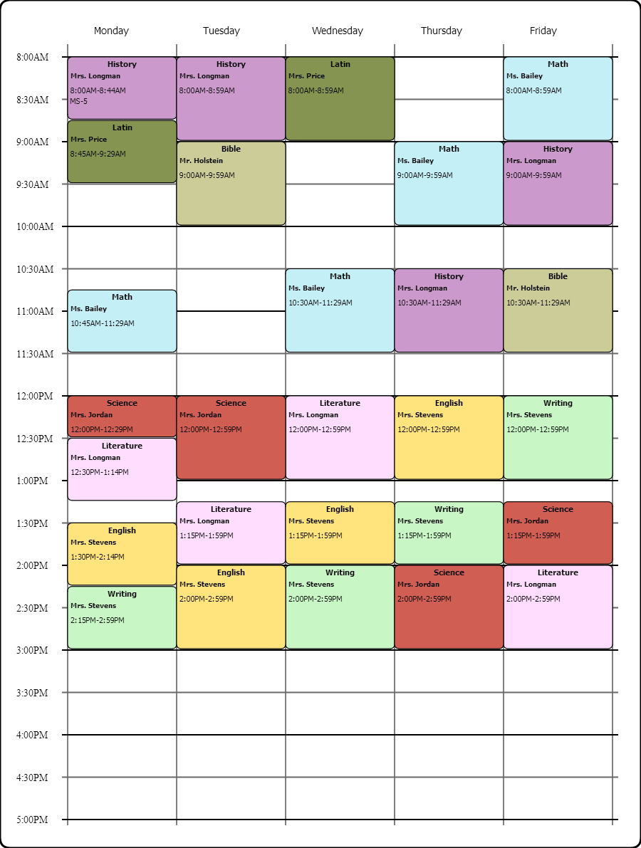Online Weekly Class Scheduling Template...I Used the Free College ...