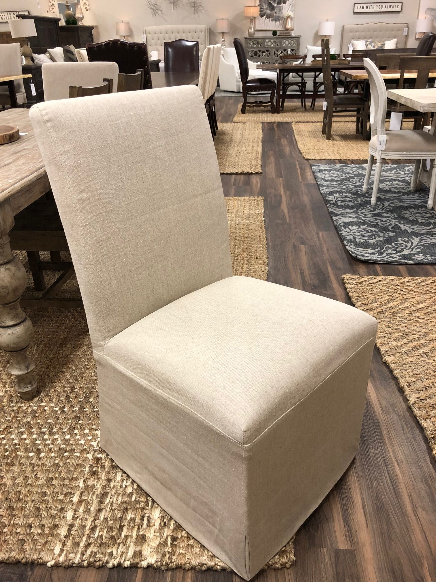 Rena Slip Cover Dining Chair Oatmeal Linen Dining Chair