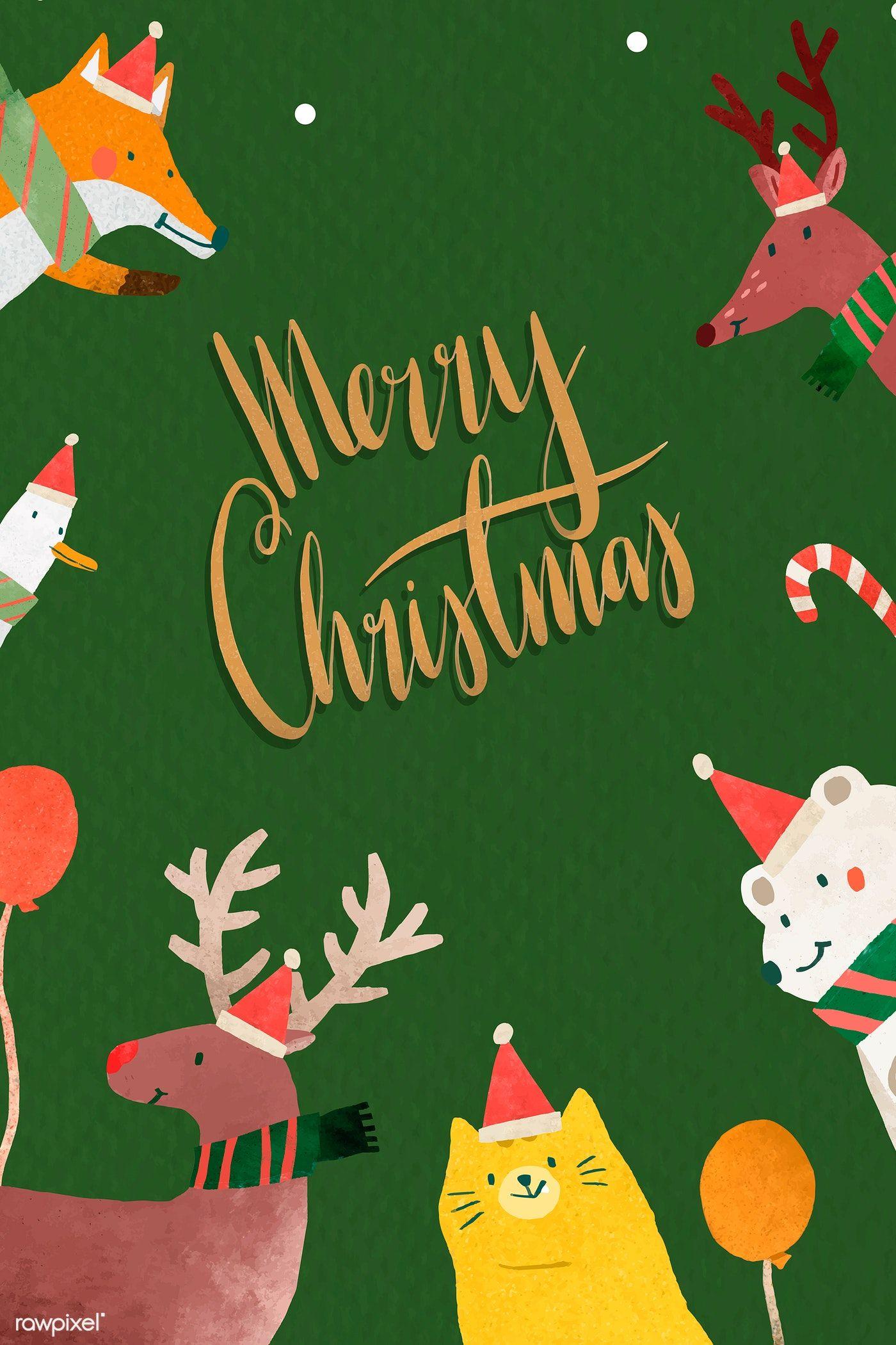 Download Premium Vector Of Green Christmas Greeting Card Vector
