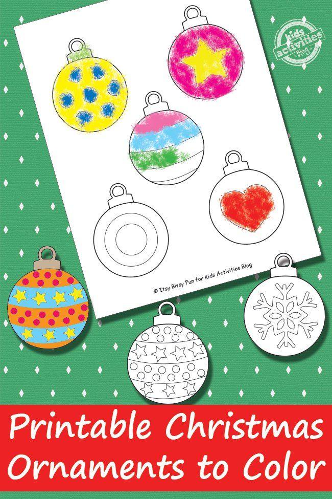Printable Christmas Ornaments {Free Kids Printable} Kids