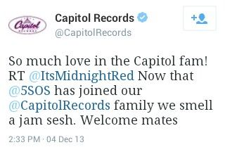 I think this tweet says it all 5SOS joined the Capital Records