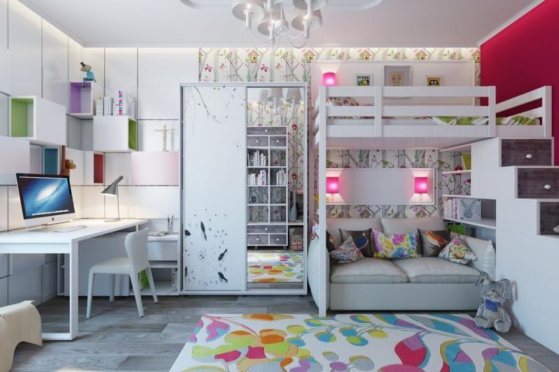 Modernes Kinderzimmer Mit Hochbett Und Modernem Kleiderschrank In