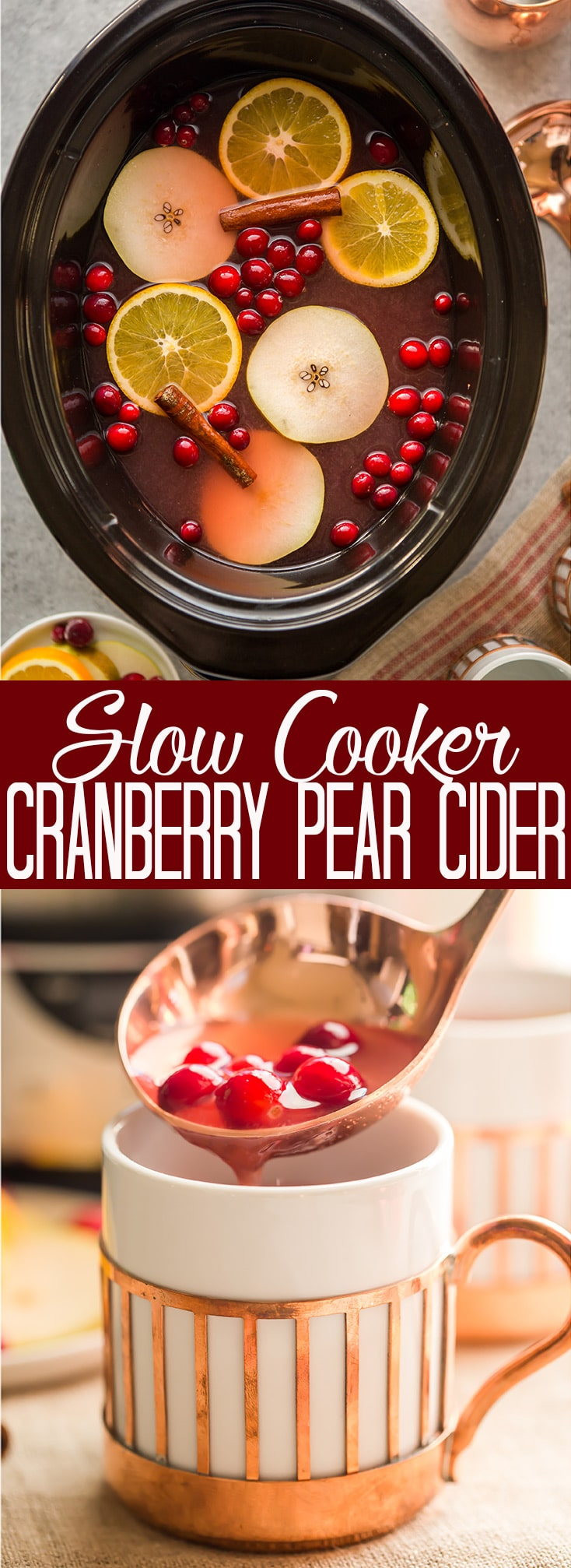 Slow Cooker Cranberry Pear Cider #thanksgivingdrinksalcohol